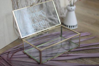 Ringkästchen für Eheringe - Ringbox aus Glas - mit Name und Datum personalisierbar